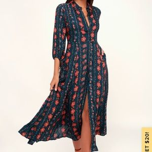 Lulu's Blue Floral Print Boho Shirt Dress